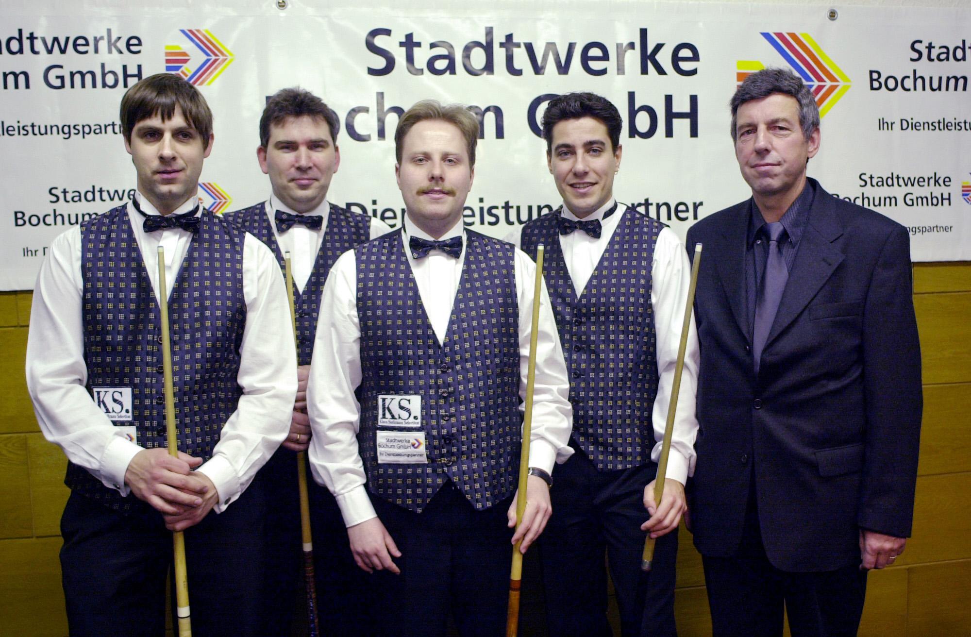 Tillemann, Blondeel, Nockemann, Pessarra und Teamchef Paul Kimmeskamp
